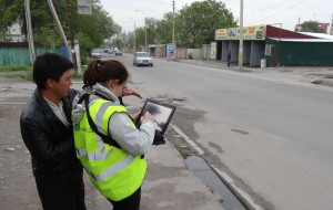 Senior Research Scientist, Enrica Verrucci directing testing of GEM Inventory Data Capture Tools, Bishkek, Kyrgyzstan 2013